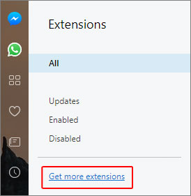 The link to get additional extensions in Opera.