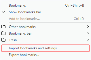 The import bookmarks selector for Opera.
