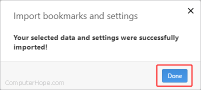 A successful import of bookmarks in Opera.