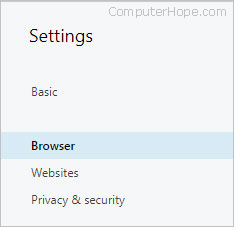 The settings menu for browser options in Opera.