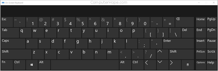7079551f54c An On-Screen Keyboard in Windows 10 with no numeric key pad.