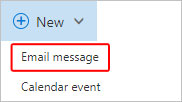 The button to click to create a new email.