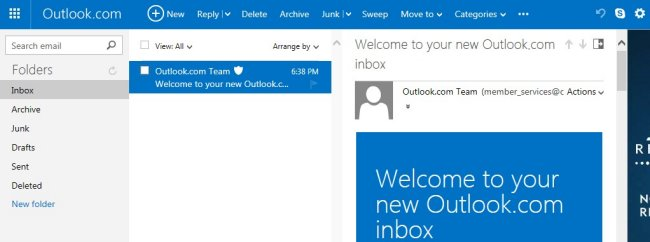 Outlook.com Reading pane