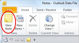 How to create a note in Microsoft Outlook