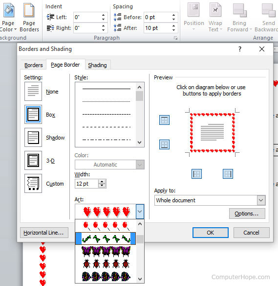 How to create a page border in microsoft word microsoft word page border ccuart Choice Image