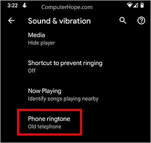 Opsi nada dering ponsel Android Pixel.