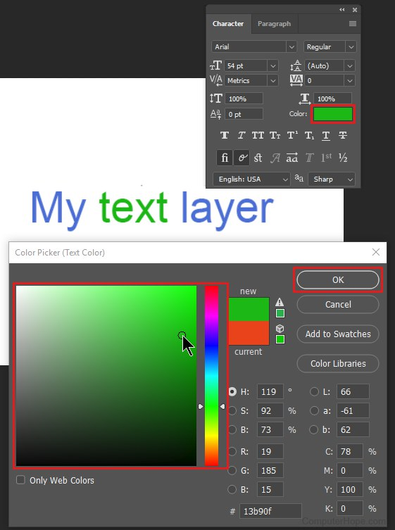 How do I change the text color in Photoshop?