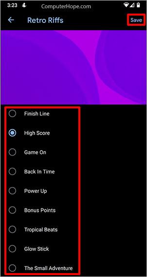 Daftar nada dering Android Pixel.
