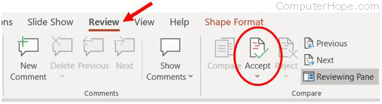 PowerPoint Accept option on Review tab