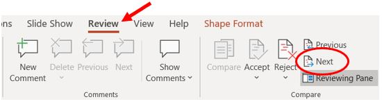 PowerPoint Next option on Review tab