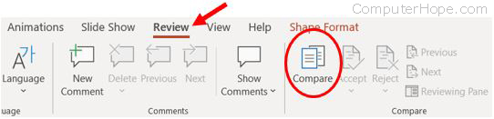 PowerPoint Compare option on Review tab
