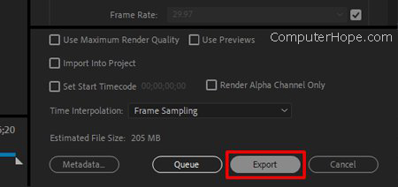 Premiere export settings