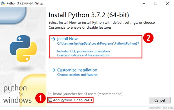 Screenshot: When installing Python 3.7.2 for Windows, make sure the