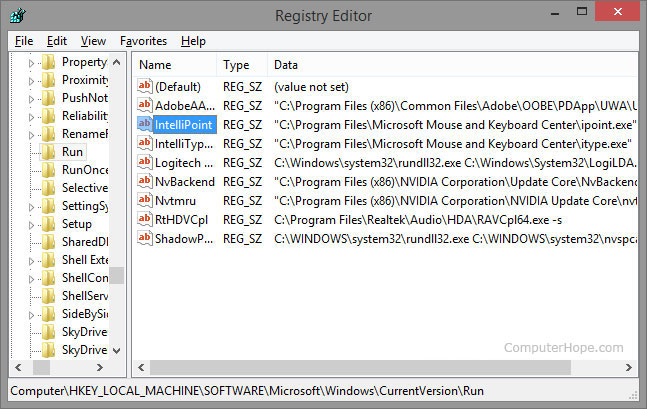 Windows Registry edit screen