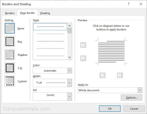 Remove page border in Microsoft Word