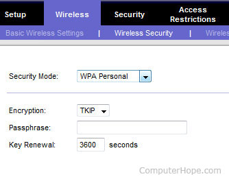Wireless Security on router setup