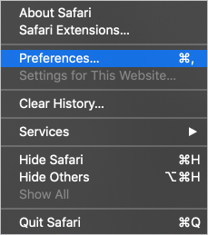 Preferences selector in Safari