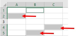 selected cells in a spreadsheet