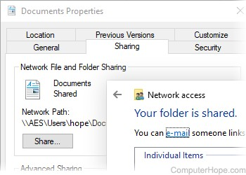 How to share a folder or directory in Windows