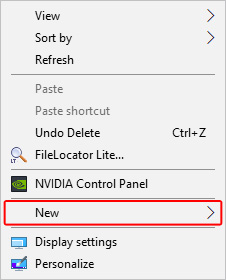 Selector to create a new item in Windows.