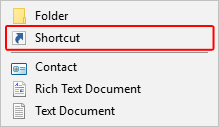 The selector to create a shortcut in Windows.