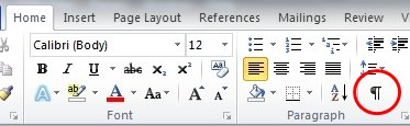 How do I get rid of those backwards 'P' symbols on my microsoft word?