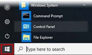 Windows 10 Start menu.