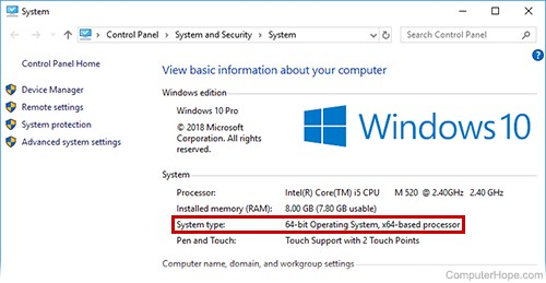 is my windows 10 64 bit or 32 bit