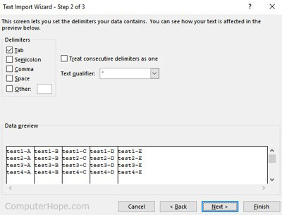 Microsoft Excel Text Import Wizard Step 2