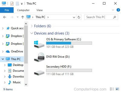 How to see all drives available on the computer