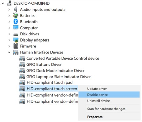 Disable touchscreen in Windows Device Manager