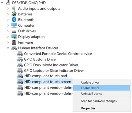 Enable touchscreen in Windows Device Manager