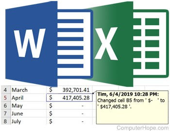 Track changes in Microsoft Word and Excel