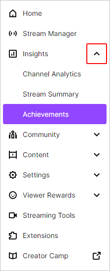Achievements selector on Twitch.
