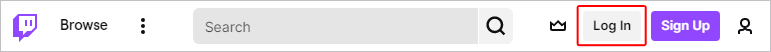 Twitch bar with the Log In button.