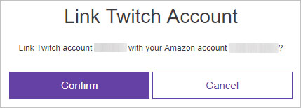 Confirm menu to link a Twitch account