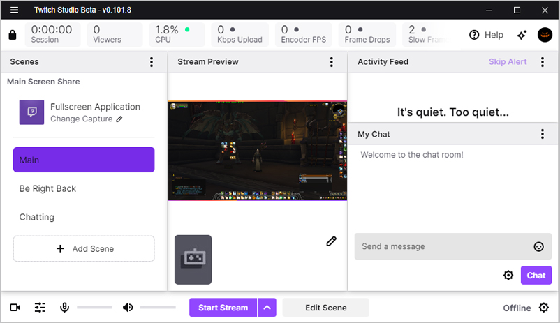 Twitch Studio Dashboard