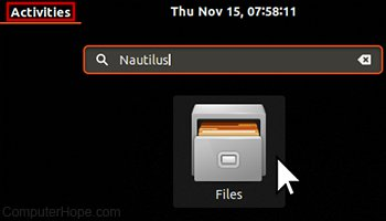 Screenshot: launching Nautilus from the Ubuntu Activities search bar.