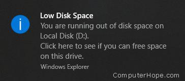 Windows vi avviserà spesso quando un volume è quasi pieno.
