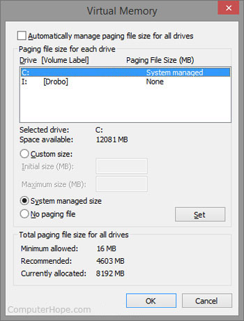 How to view Windows virtual memory or page file settings