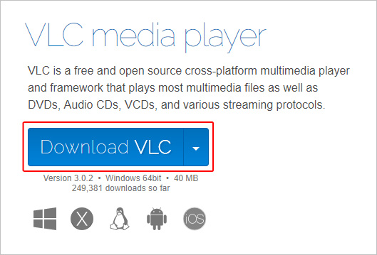 The button that allows users to download the VLC media player.