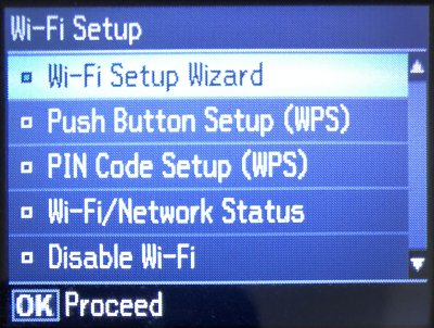 Wi-Fi Setup menu on a wireless capable printer