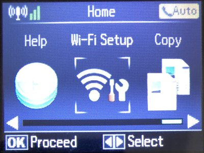 Wi-Fi Setup option on a wireless capable printer