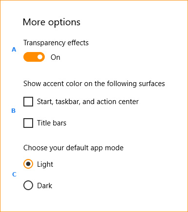 The more options section for colors in Windows 10.