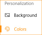 The colors tab in Windows 10.