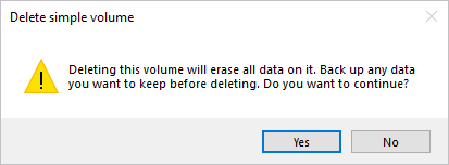 The confirmation prompt for deleting a volume in Windows 10.