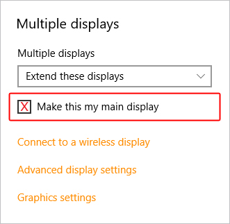 The box that lets you set a main display.