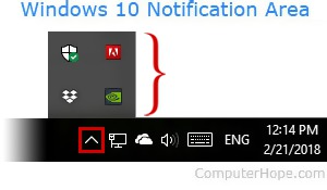Notification area in Windows 10.