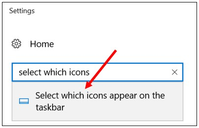 Search results in Windows 10 settings window