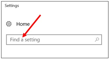 Search textbox in Windows 10 settings window.